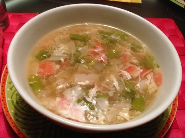 Soupe au crabe et asperges